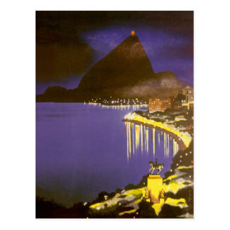 Vintage Rio De Janeiro at Night Postcard
