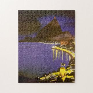Vintage Rio De Janeiro, Brazil at Night Jigsaw Puzzle
