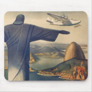 Vintage Rio De Janeiro, Christ the Redeemer Statue Mouse Pad