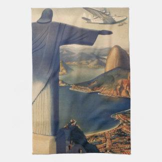 Vintage Rio De Janeiro, Christ the Redeemer Statue Hand Towels