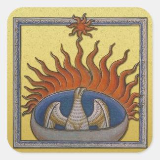 Vintage Rising Phoenix Mythological Firebird Square Sticker