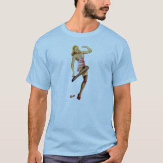 Vintage Risque Pinup Girl Illustration T-Shirt