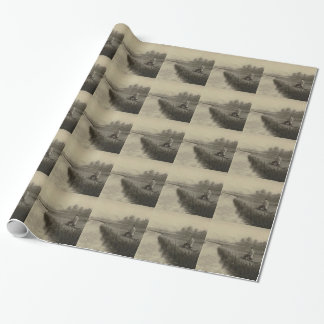 Vintage River Fishing Art Wrapping Paper