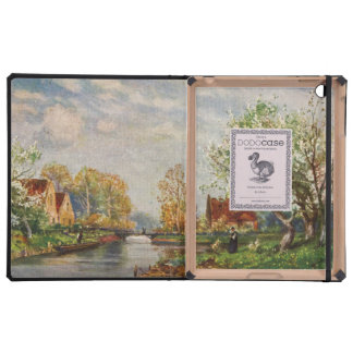 Vintage River Landscape and A Woman Cover For iPad