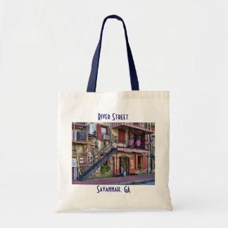 Vintage River Street Savannah Georgia Tote Bags
