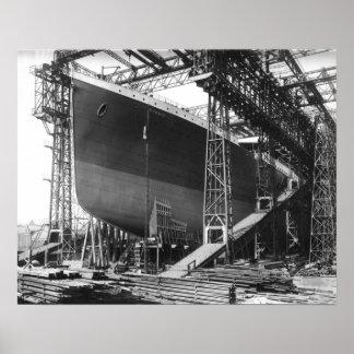 "Vintage RMS Titanic in shipyard poster 16"" x 20"""