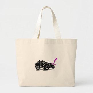Vintage Roadster Scarf Retro Large Tote Bag
