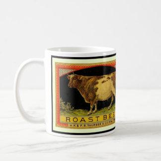 Vintage Roast Beef Cow label illustration - Mug