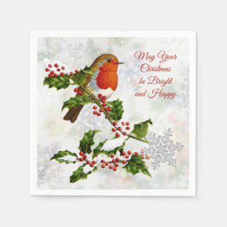 Vintage Robin, Holly, snowflake Disposable Napkin