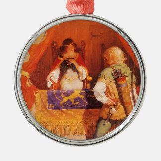Vintage Robin Hood Meets Maid Marian by NC Wyeth Metal Ornament