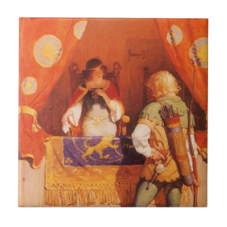 Vintage Robin Hood Meets Maid Marian by NC Wyeth Small Square Tile