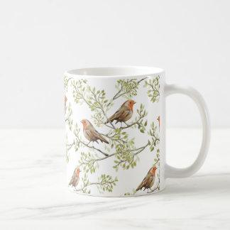 Vintage Robin Readbreast Art Pattern Coffee Mug