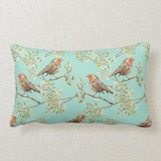 Vintage Robin Readbreast Art Pattern Lumbar Pillow