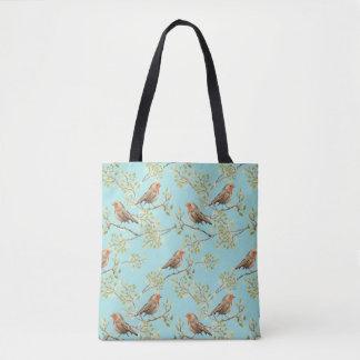 Vintage Robin Readbreast Art Pattern Tote Bag