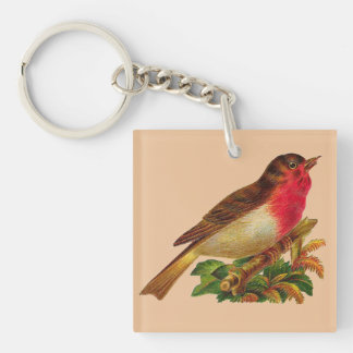Vintage Robin Redbreast Keychain