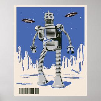 Vintage Robot 3 blue Poster