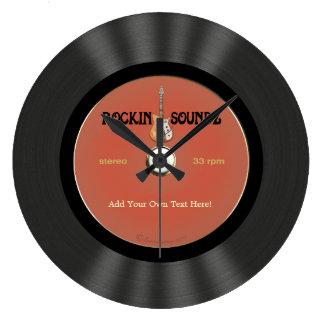 Vintage Rock Guitar Vinyl Record Design Large Clock