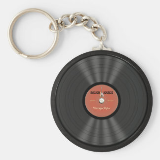 Vintage Rock Vinyl Record Basic Round Button Key Ring