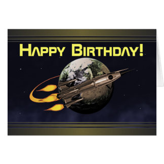 Vintage Rocket Birthday Card