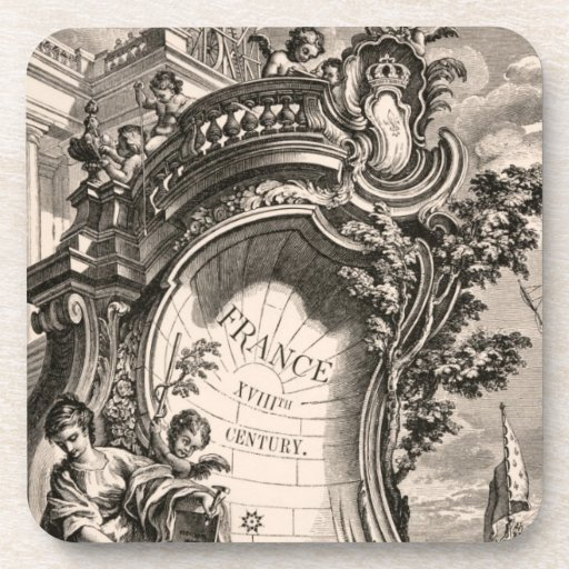 Vintage Rococo Illustration French Antique Coasters
