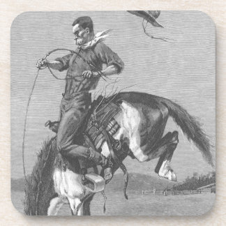 Vintage Rodeo Cowboys, Bucking Bronco by Remington Coaster