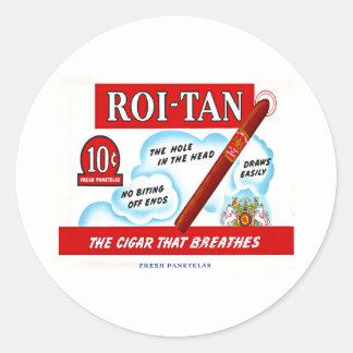 Vintage Roi-Tan Cigra Box Art Classic Round Sticker