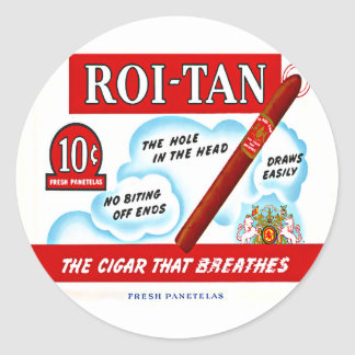 Vintage Roi-Tan Cigra Box Art Classic Round Sticker