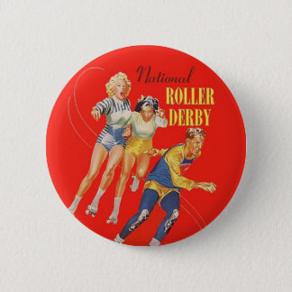 Vintage Roller Derby Program cover art 6 Cm Round Badge