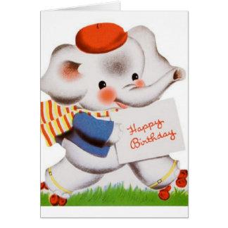 Vintage Roller Skating Elephant Birthday Card