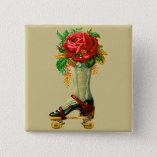 Vintage Rollerskate With Red Rose 15 Cm Square Badge