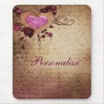 Vintage Romance Heart & Roses Mousepad