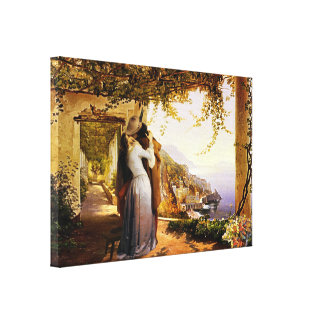 Vintage Romance in Italy Wrapped Canvas Print
