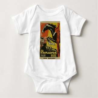 Vintage Romance of the Rail New Zealand Travel Baby Bodysuit