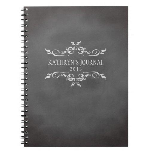 Vintage romantic chalkboard personalised journal note books - Zazzle.