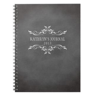 Vintage romantic chalkboard personalized journal spiral notebook