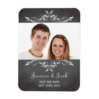 Vintage romantic chalkboard scroll save the date magnet
