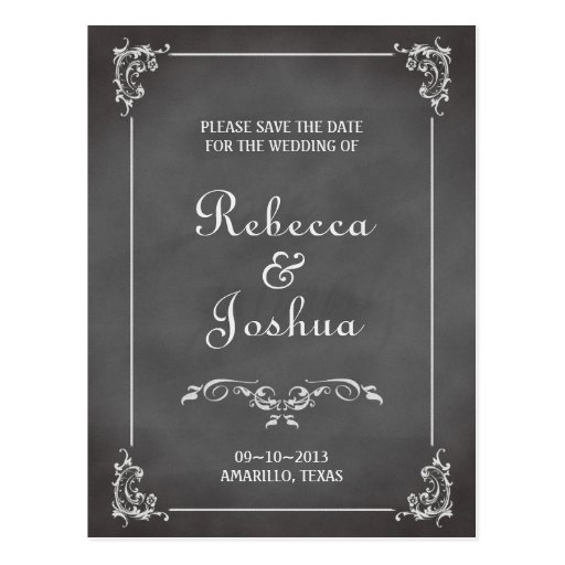 Vintage romantic chalkboard scroll save the date post cards
