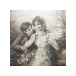 "Vintage romantic  couple, vanvas  (12"" x 12"") canvas print"