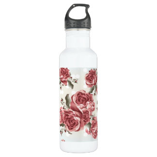 Vintage Romantic drawn red roses bouquet 710 Ml Water Bottle