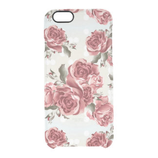 Vintage Romantic drawn red roses bouquet Clear iPhone 6/6S Case