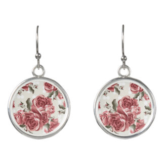 Vintage Romantic drawn red roses bouquet Earrings