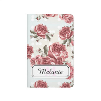 Vintage Romantic drawn red roses bouquet Journal