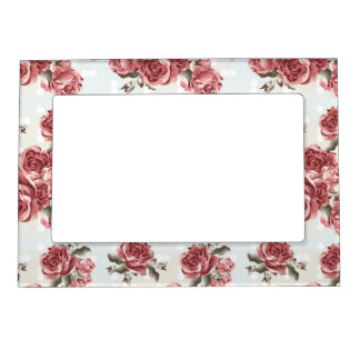 Vintage Romantic drawn red roses bouquet Magnetic Picture Frame