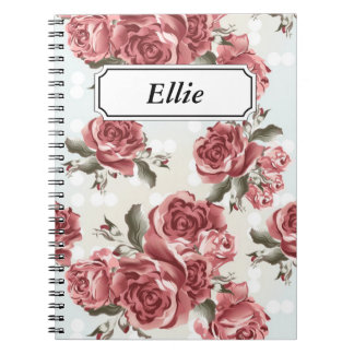 Vintage Romantic drawn red roses bouquet Notebooks