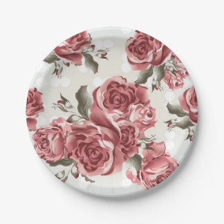 Vintage Romantic drawn red roses bouquet Paper Plate