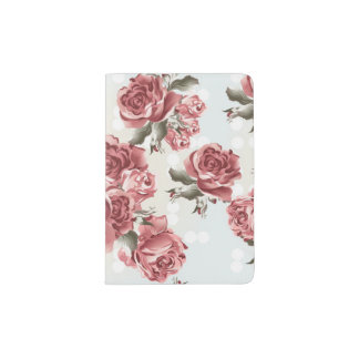 Vintage Romantic drawn red roses bouquet Passport Holder