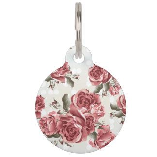 Vintage Romantic drawn red roses bouquet Pet ID Tag