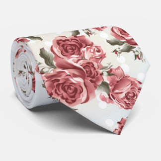 Vintage Romantic drawn red roses bouquet Tie