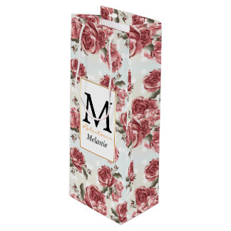 Vintage Romantic drawn red roses bouquet Wine Gift Bag