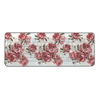 Vintage Romantic drawn red roses bouquet Wireless Keyboard